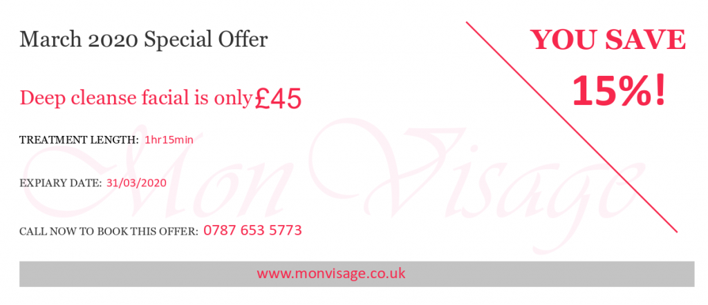 Special off on deep cleanse facials at Mon Visage beauty salon in Farnham